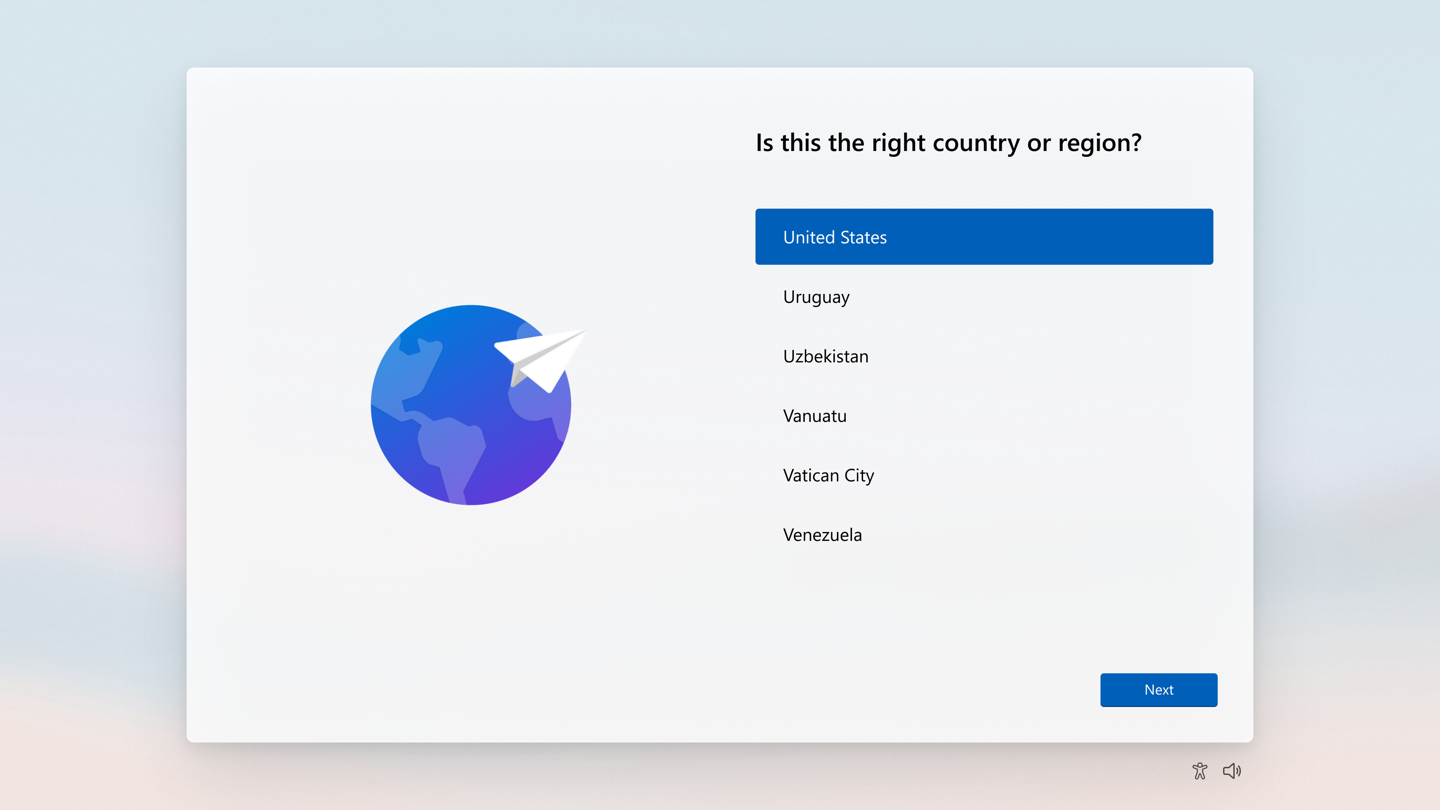 The beginning of the setup experience for Windows 11.